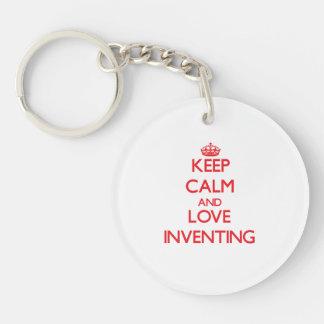 平静および愛発明を保って下さい キーホルダー