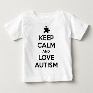 平静および愛自閉症を保って下さい ベビーTシャツ