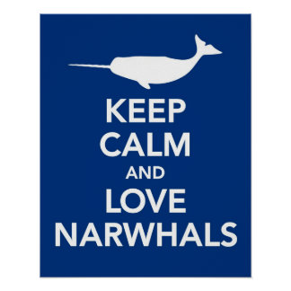 平静および愛Narwhalsプリントまたはポスター青を保って下さい ポスター