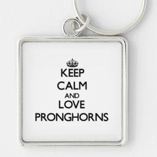 平静および愛Pronghornsを保って下さい キーホルダー