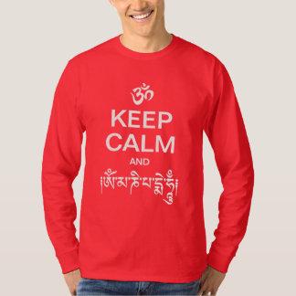 平静およびOmマニPadmeのハム雑音を保って下さい Tシャツ