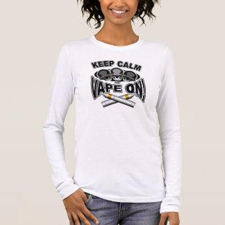 平静およびVapeを保って下さい: スカル 長袖Tシャツ