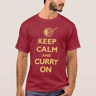 平静そしてカレーをの保存して下さい(暗闇) Tシャツ