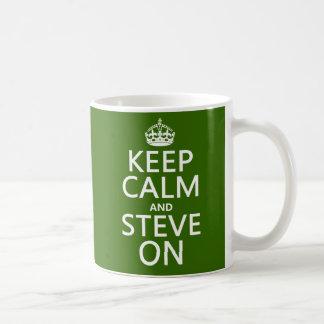 平静そしてスティーブをの保って下さい(どの色でも) コーヒーマグカップ