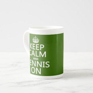 平静そしてテニスをの保って下さい(どの背景色でも) ボーンチャイナカップ