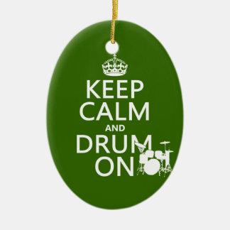 平静そしてドラムをの保って下さい(どの背景色でも) セラミックオーナメント