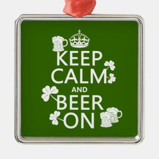 平静そしてビールをの保存して下さい(アイルランド語) (どの色でも) メタルオーナメント