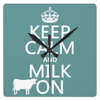 平静そしてミルクをの保存して下さい(牛) (すべての色で) スクエア壁時計