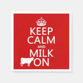平静そしてミルクをの保存して下さい(牛) (すべての色で) スタンダードカクテルナプキン
