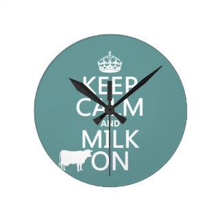平静そしてミルクをの保存して下さい(牛) (すべての色で) ラウンド壁時計