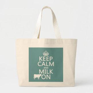 平静そしてミルクをの保存して下さい(牛) (すべての色で) ラージトートバッグ
