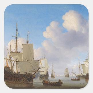 平静のオランダの軍艦そして他の船積み スクエアシール