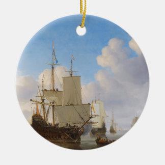 平静のオランダの軍艦そして他の船積み セラミックオーナメント