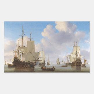 平静のオランダの軍艦そして他の船積み 長方形シール