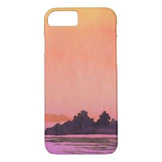平静の景色の水彩画 iPhone 7ケース