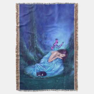 平静の睡眠の蝶妖精及び子ネコ スローブランケット