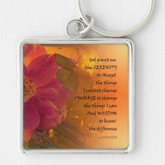 平静の祈りの言葉のオレンジピンクのバラ キーホルダー