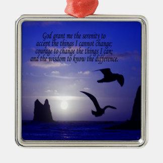 平静の祈りの言葉の倍の鳥の青の正方形のオーナメント メタルオーナメント
