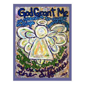 平静の祈りの言葉の天使の絵画の芸術の郵便はがき ポストカード
