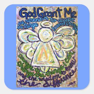 平静の祈りの言葉の天使の芸術の絵画のステッカー スクエアシール