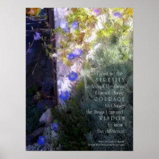 平静の祈りの言葉の朝顔のプリント ポスター