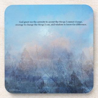 平静の祈りの言葉の空および木の抽象芸術 コースター