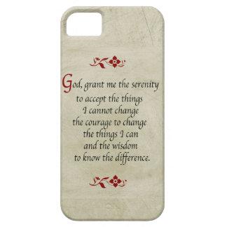 平静の祈りの言葉ヴィンテージのスタイル+バーガンディのアクセント iPhone SE/5/5s ケース