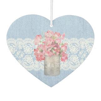平静の青いバーラップの結婚式の素朴なピンクの花柄 カーエアーフレッシュナー