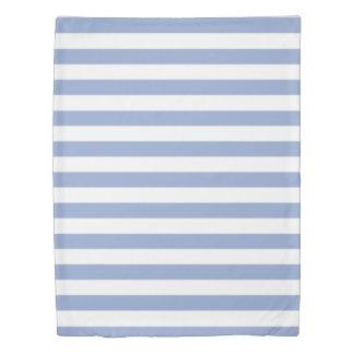 平静の青及び白いストライプの 掛け布団カバー
