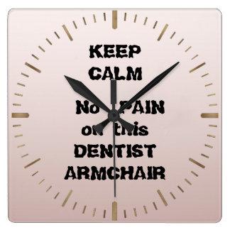 平静をこの歯科医の肘掛け椅子の歯科医の苦痛保たないで下さい スクエア壁時計