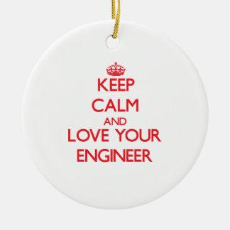 平静を保ち、あなたのエンジニアを愛して下さい セラミックオーナメント