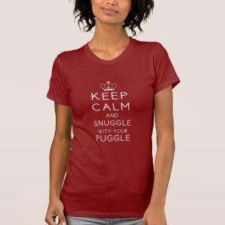 平静を保ち、あなたのPuggle暗いT Shirと寄添って下さい Tシャツ