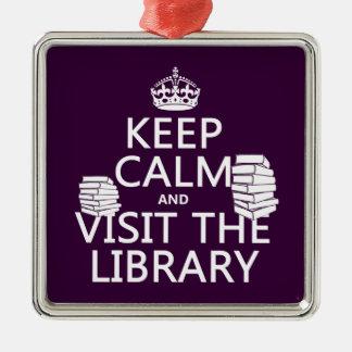 平静を保ち、-あらゆる色の…図書館を訪問して下さい シルバーカラー正方形オーナメント