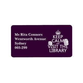 平静を保ち、-あらゆる色の…図書館を訪問して下さい ラベル