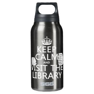 平静を保ち、-あらゆる色の…図書館を訪問して下さい 断熱ウォーターボトル