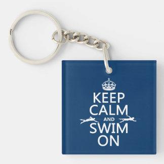 平静を保ち、で泳いで下さい(あらゆる色で) キーホルダー