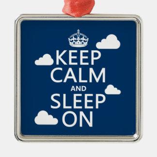 平静を保ち、で眠らせて下さい(色をカスタマイズ) シルバーカラー正方形オーナメント