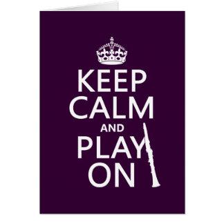 平静を保ち、で遊んで下さい(クラリネット) (どの色でも) グリーティングカード