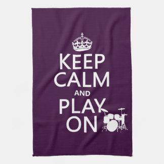 平静を保ち、で遊んで下さい(ドラム) (どの色でも) キッチンタオル