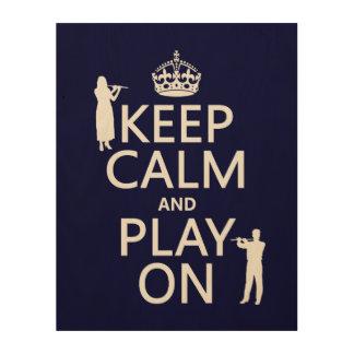 平静を保ち、で遊んで下さい(フルート) (どのbackgroundcolorでも) ウッドウォールアート