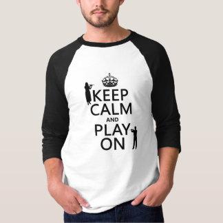 平静を保ち、で遊んで下さい(フルート) (どのbackgroundcolorでも) tシャツ
