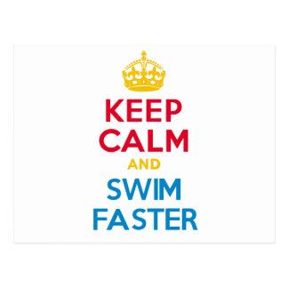 平静を保ち、より速く泳いで下さい ポストカード