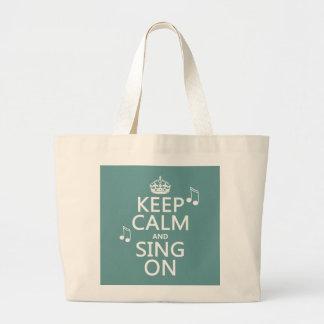平静を保ち、オンすべての色を歌って下さい ラージトートバッグ