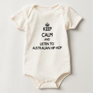 平静を保ち、オーストラリアのヒップホップに聞いて下さい ベビーボディスーツ