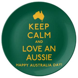 平静を保ち、オーストラリア人を愛して下さい! 磁器プレート