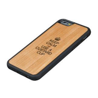 平静を保ち、カスタードコップを使用して下さい CarvedチェリーiPhone 6バンパーケース