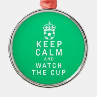 平静を保ち、コップを見て下さい メタルオーナメント