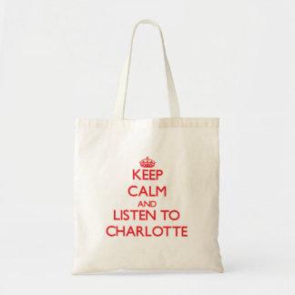 平静を保ち、シャーロットに聞いて下さい トートバッグ