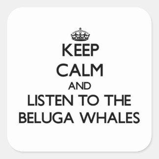 平静を保ち、シロイルカのクジラに聞いて下さい スクエアシール