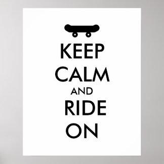 平静を保ち、スケートボードをするライダーのカスタムで乗って下さい ポスター